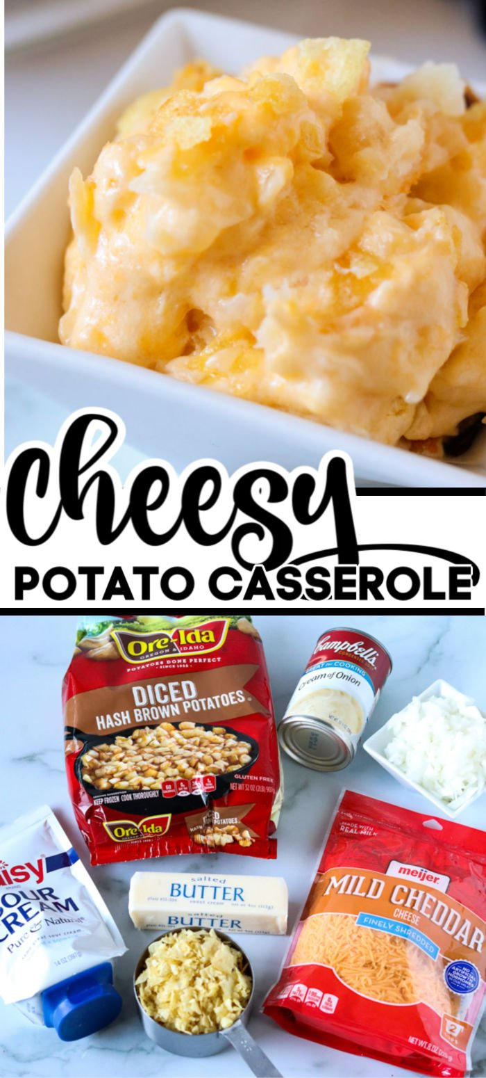 Cheesy Potato Casserole (sometimes called Funeral Potatoes) is a holiday treat that I make for Thanksgiving and Christmas dinners. I look forward to cheesy potatoes every year! | www.persnicketyplates.com #potatoes #cheesypotatoes #casserole #sidedish #easyrecipe #vegetarian