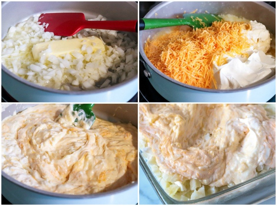 process shots of cheese in pan making a casserole