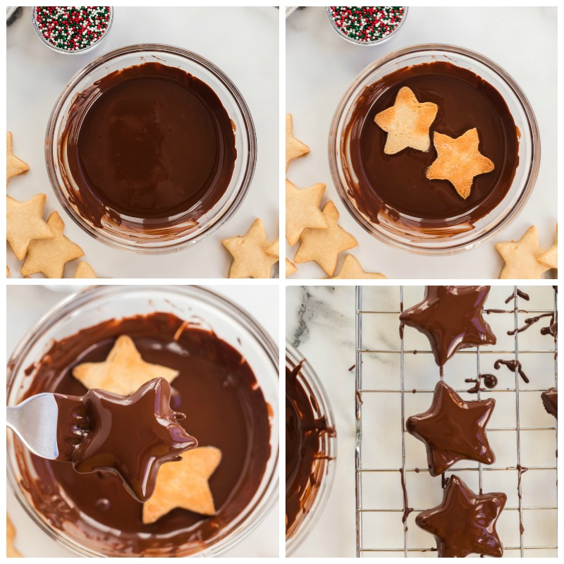 overhead shot of dipping shortbread star cookies into chocolate