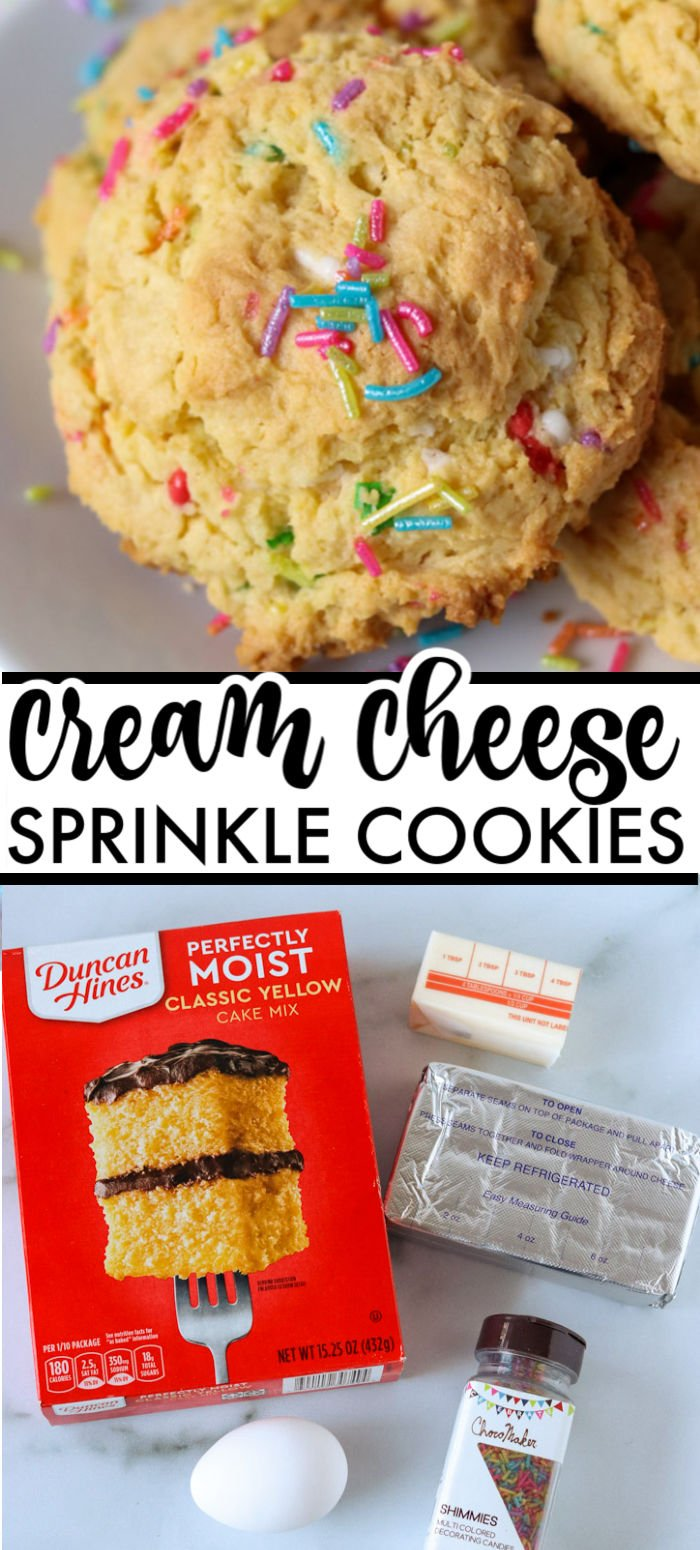 These five ingredient, semi-homemade Cream Cheese Sprinkle Cookies are simple and festive for the holidays or any time of year. | www.persnicketyplates.com #cookies #christmascookies #semihomemade #creamcheese #easyrecipe #sprinkles