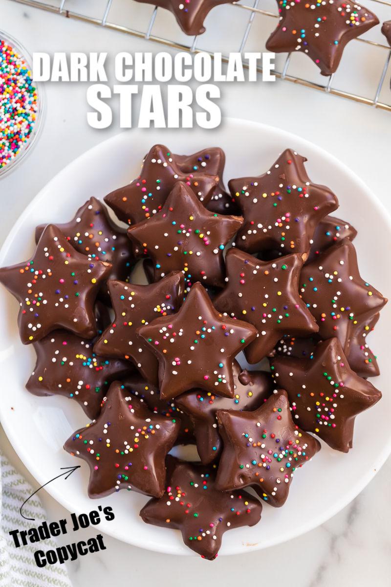 overhead shot of platter of dark chocolate star shortbread cookies