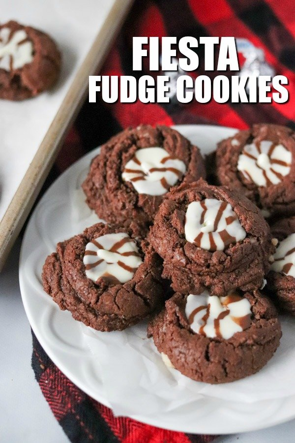 fiesta fudge cookies on a platter with title text