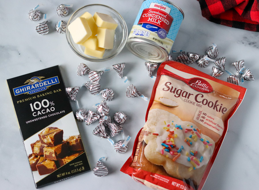 sugar cookie mix, butter, chocolate laid out to make cookies