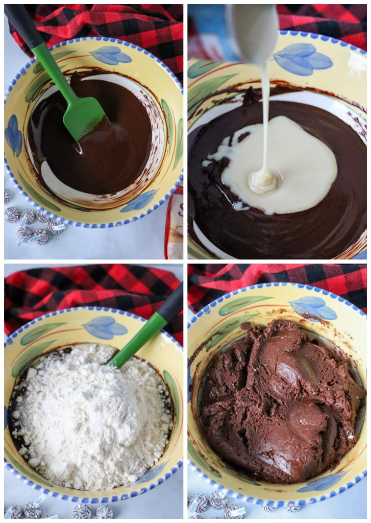 cookie batter in mixing bowl collage