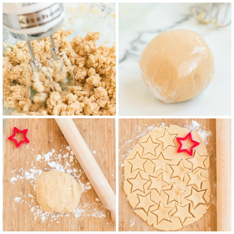 shortbread dough being rolled out & cut into stars