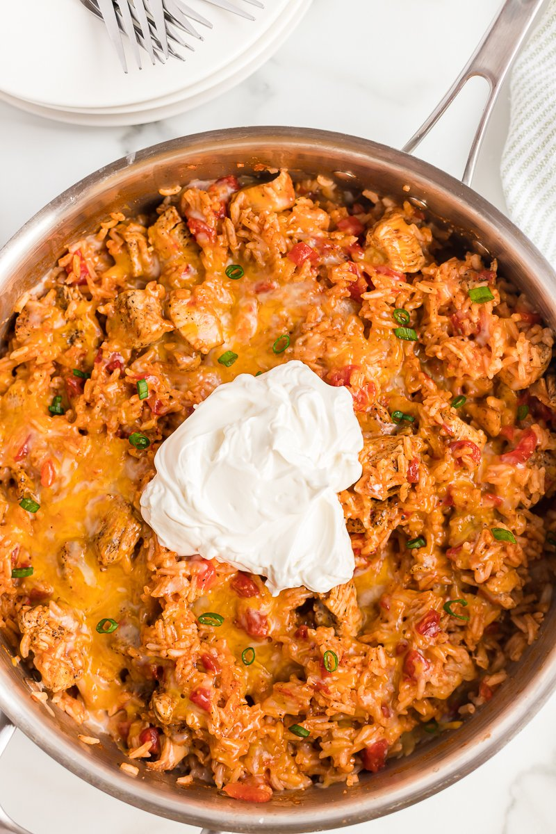 chicken skillet topped with sour cream