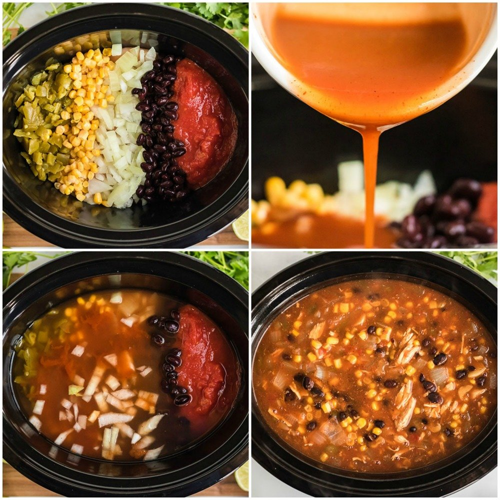 process shots of making chicken tortilla soup in the crock pot