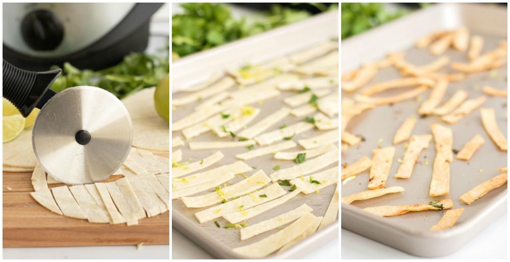 process shots of making crispy tortilla strips