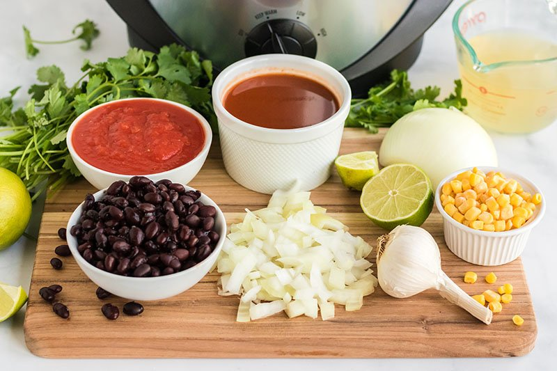 ingredients laid out to make slow cooker chicken tortilla soup