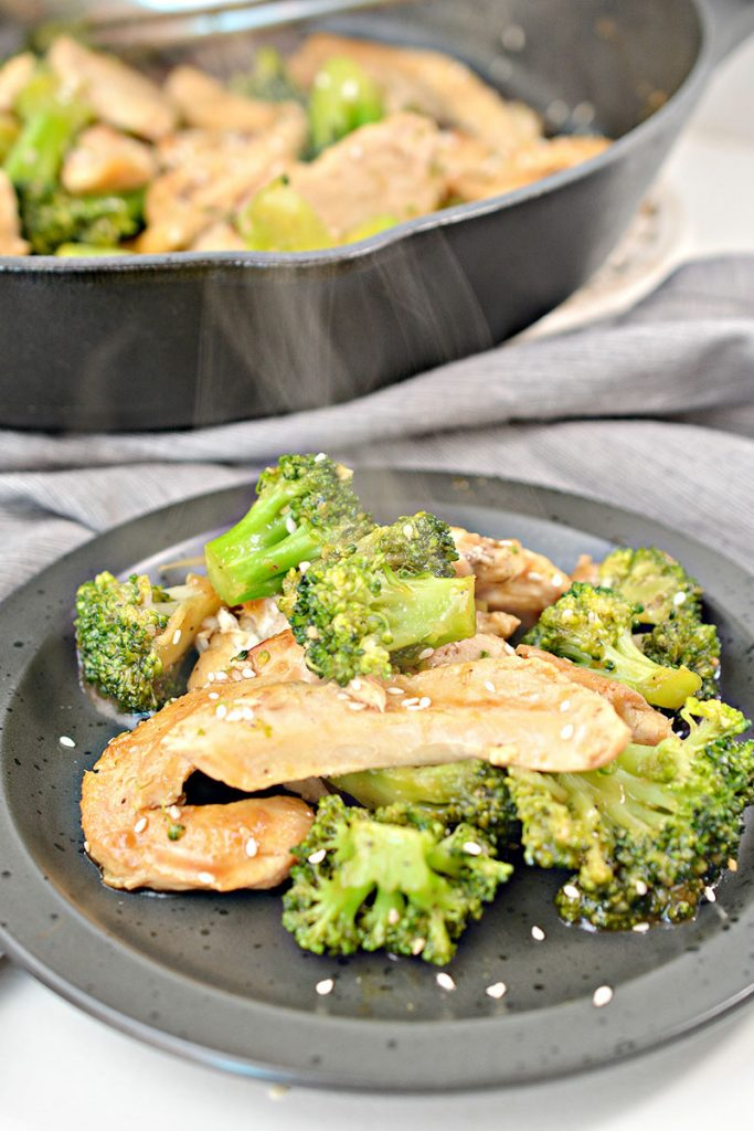 steaming plate of chicken and broccoli
