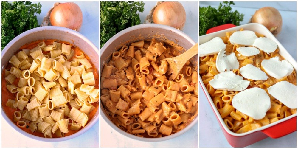 overhead shots of pasta being made in rosa sauce