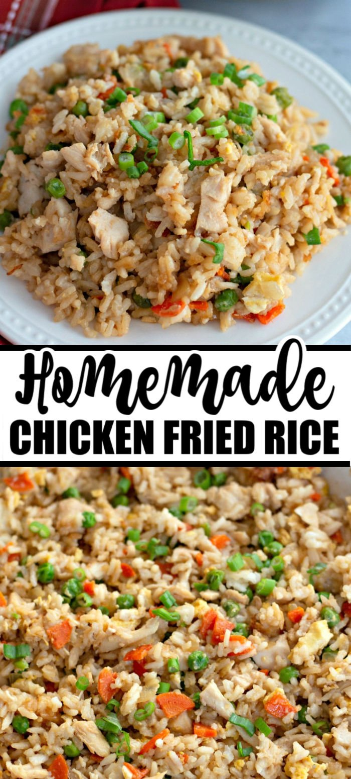 Restaurant Style Chicken Fried Rice is the ultimate meal to whip up at home. Skip ordering takeout and make this easy chicken fried rice at home. Get the tender rice, perfect blend of veggies, and a little secret ingredient to toss in that adds a nice amount of flavor. | www.persnicketyplates.com