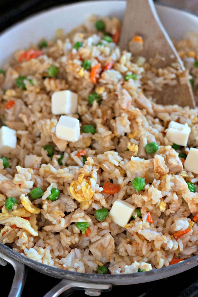 homemade fried rice in skillet