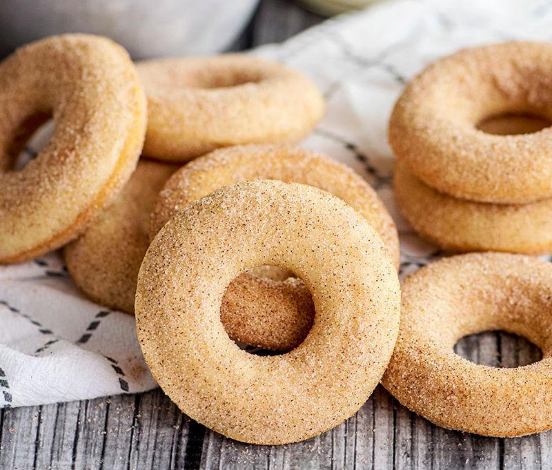 stack of cinnamon sugar baked donuts