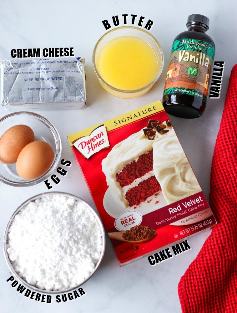 ingredients laid out to make cookie bars