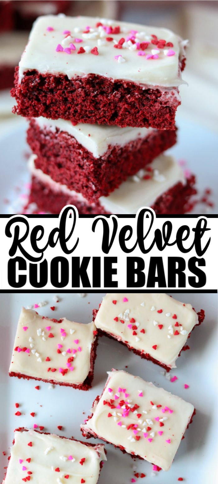 If you need a Valentine treat and don't have time to scoop cookies (or just don't feel like it), these red velvet cake mix cookie bars topped with homemade cream cheese frosting are the perfect alternative! | www.persnicketyplates.com #redvelvet #cakemixcookies #cookiebars #easyrecipe #semihomemade