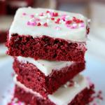stack of red velvet cookie bars