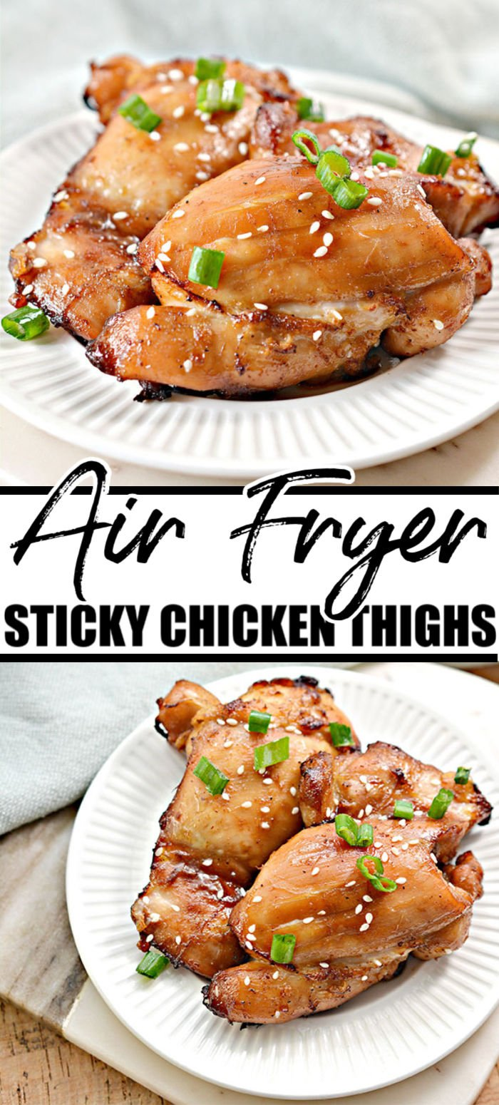 Air fried Sticky Chicken makes a quick and easy dinner. Perfectly marinated and cooked to perfection, this keto chicken recipe will please your taste buds without any of the guilt. | www.persnicketyplates.com