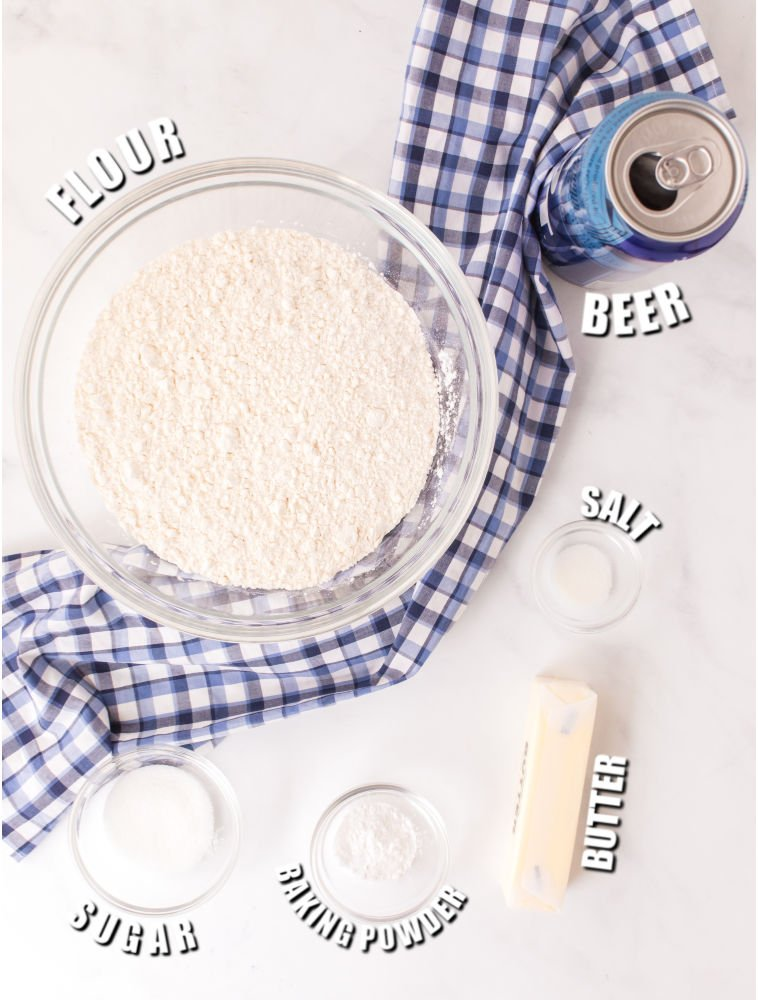 ingredients laid out to make bread