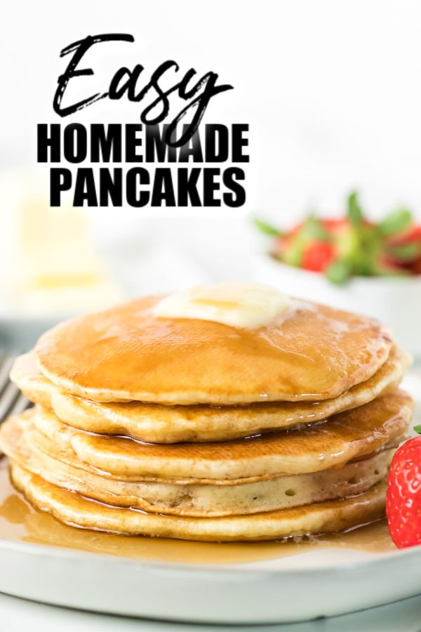 stack of homemade pancakes on a white plate