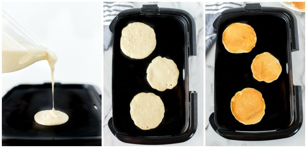 pancake batter on a griddle