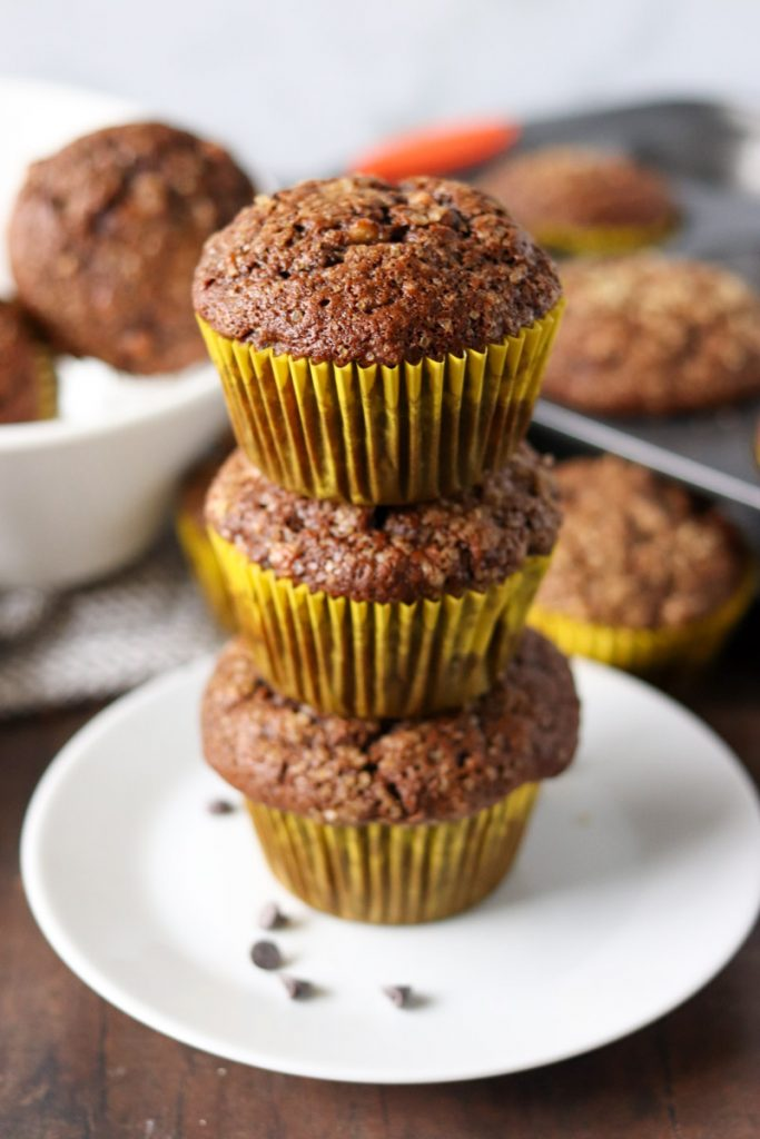stack of 3 chocolate muffins in yellow wrappers