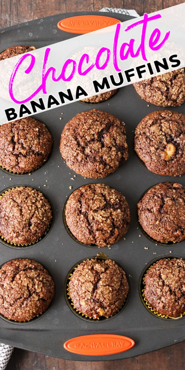 Easy Chocolate Banana Muffins are a soft and fluffy muffin filled with chocolate chips & sprinkled with sugar. I love baking from scratch when you don't even have to get the mixer out! | www.persnicketyplates.com