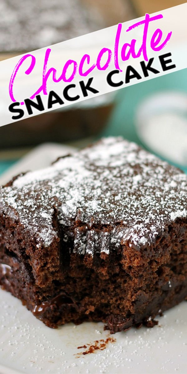 """Chocolate Snack Cake, sometimes called """"Wacky Cake"""", is a simple, dairy-free, cake made from scratch that is perfect for the kids to help with! This rich dessert is made from pantry staples and makes a small cake perfect for those chocolate cravings. 