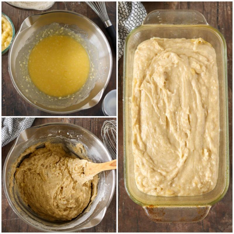 mixing bowl with banana bread batter