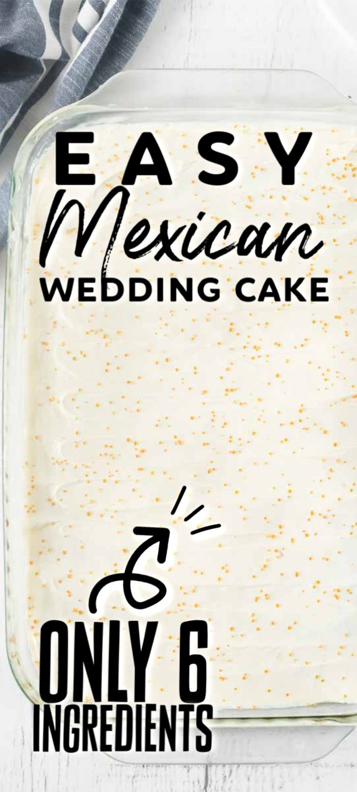 This Mexican Wedding Cake recipe is exactly what you want when making a cake from scratch, fast, easy and incredibly delicious. Made with only six ingredients and a few simple steps, this tender and moist cake is full of pineapple flavor topped with a delicious cream cheese frosting. It is the perfect cake to serve for a Mother's Day brunch, a wedding or an after dinner dessert! | www.persnicketyplates.com
