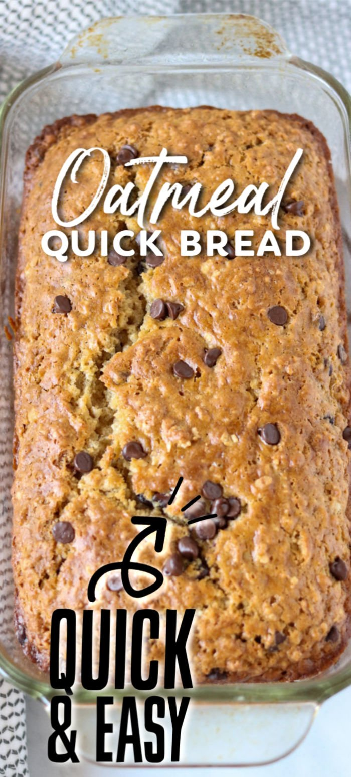 Oatmeal Quick Bread filled with chocolate chips takes less than an hour to whip up. You don't need a mixer or yeast for this easy and delicious sweet bread. | www.persnicketyplates.com
