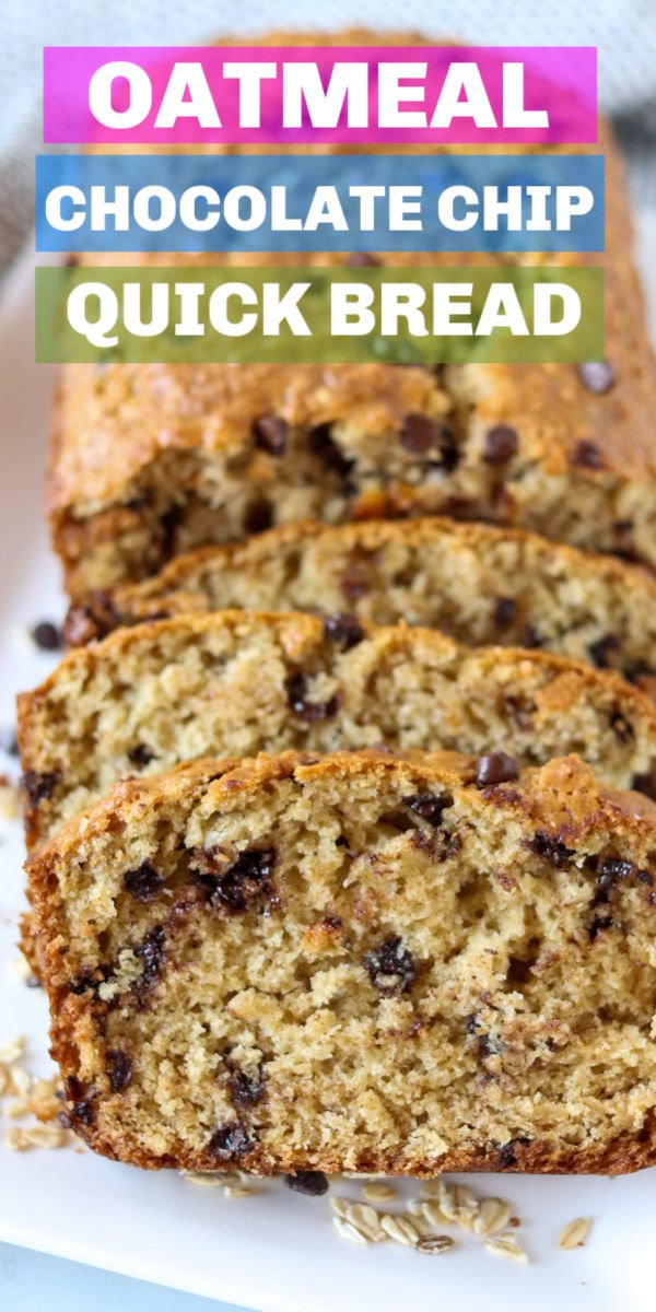 Oatmeal Quick Bread filled with chocolate chips takes less than an hour to whip up. You don't need a mixer or yeast for this easy and delicious sweet bread.   www.persnicketyplates.com