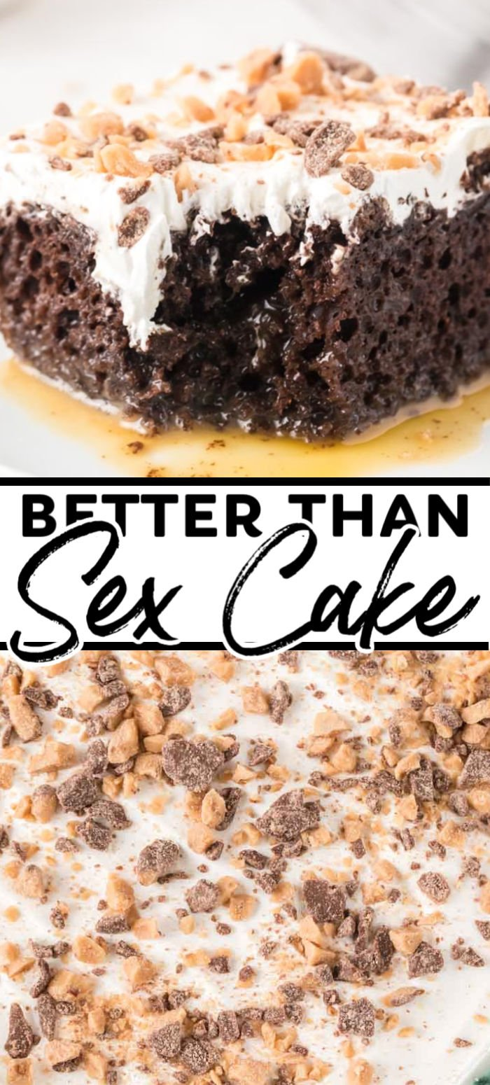 This Better Than Sex Cake is as good as it sounds. Moist chocolate cake filled with caramel sauce and topped with Cool Whip and Heath! If you are looking for the best and easiest chocolate cake recipe you'll ever try, you have come to the right place. | www.persnicketyplates.com
