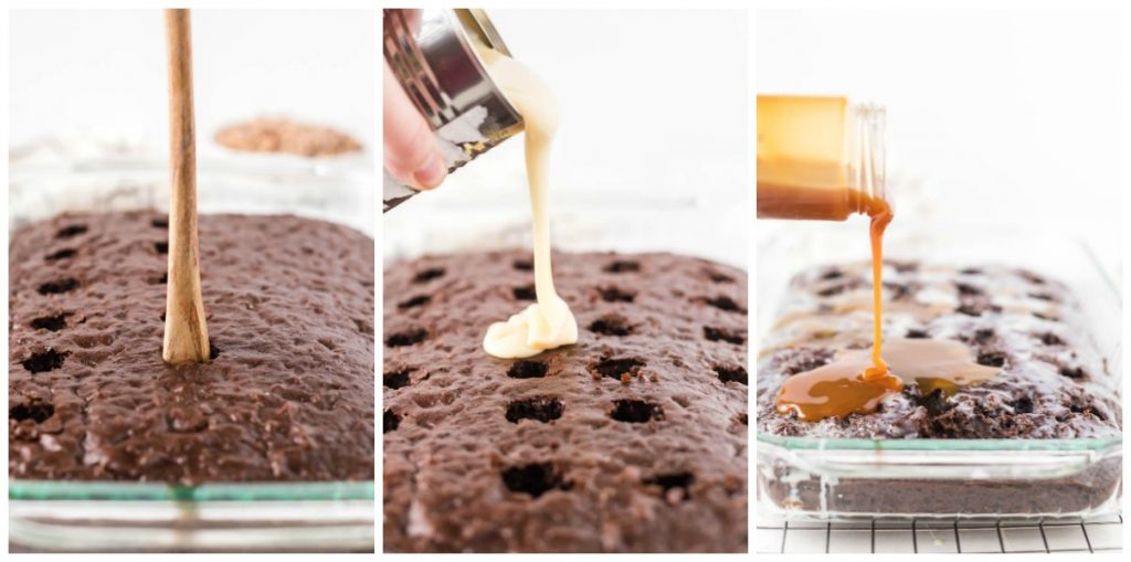 pouring condensed milk & caramel sauce into a chocolate poke cake
