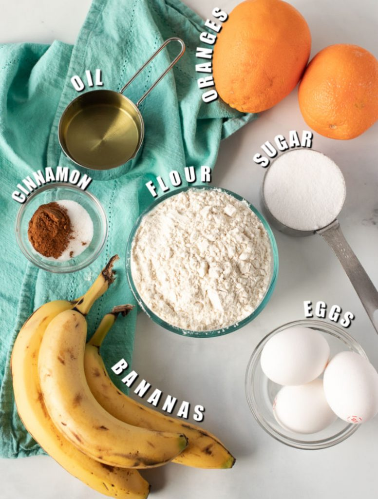 ingredients laid out to make a cake