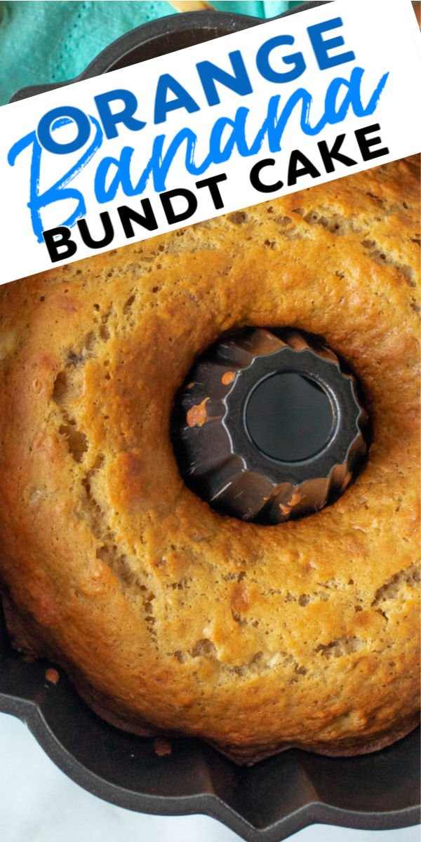 This Orange Banana Bundt Cake recipe is as easy as it is delicious. Made with simple, flavorful ingredients such as orange juice, bananas, and a hint of cinnamon and topped with a delicious orange glaze, this moist bundt cake will be ready in under an hour. | www.persnicketyplates.com