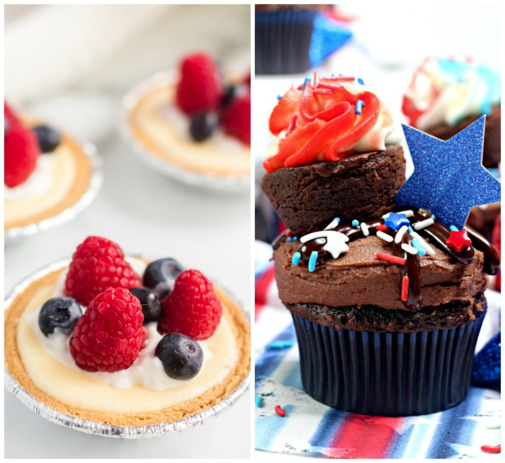 collage of mini cheesecakes & patriotic cupcakes