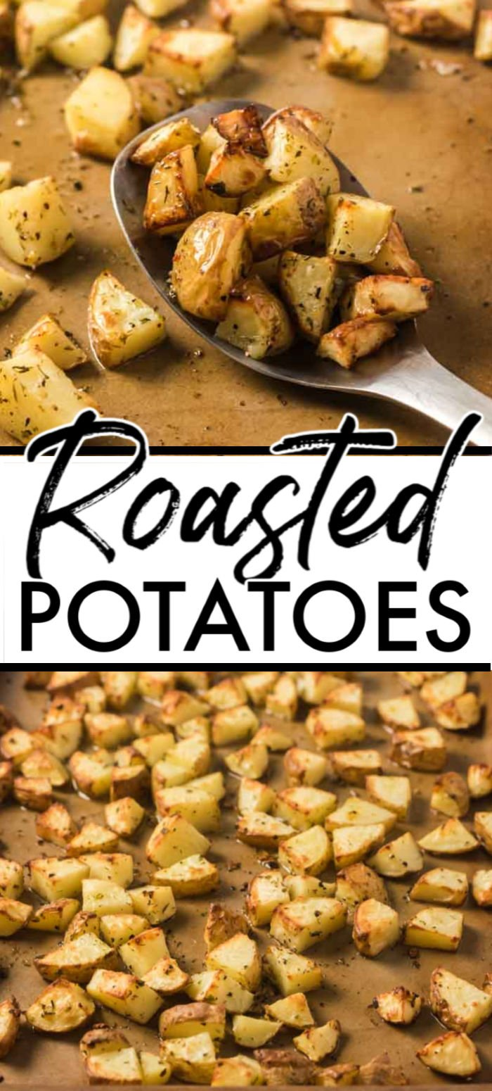 These Easy Oven Roasted potatoes are the perfect crispy on the outside tender on the inside bite you want in any roasted veggie. Made with a few ingredients, delicious herbs, and baked to a golden brown, this oven-roasted potato recipe will be ready in under an hour.   www.persnicketyplates.com