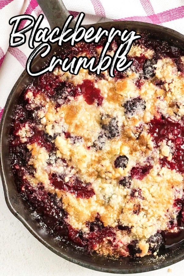 overhead shot of blackberry crumble with text overlay