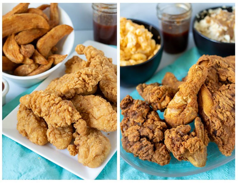 collage of chicken tenders and fried chicken on white platters