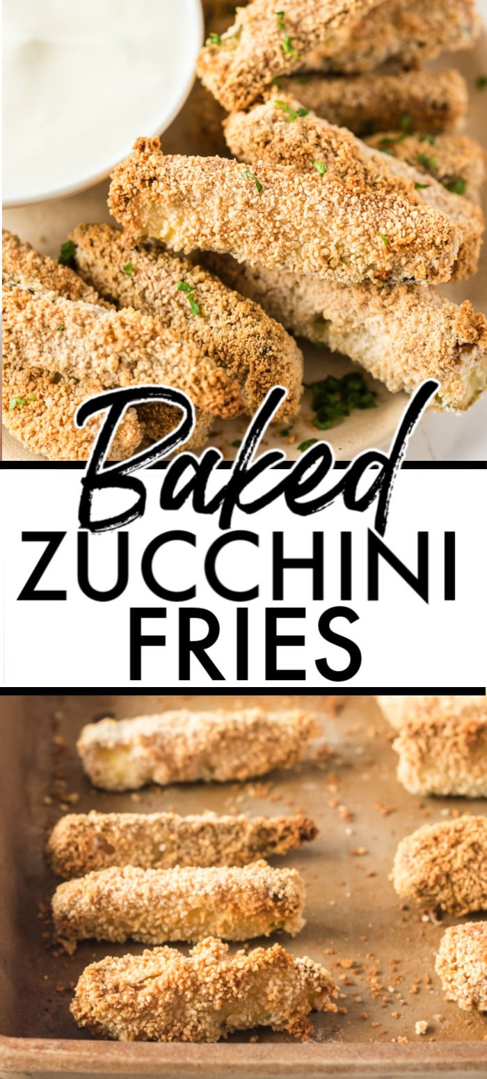 Baked Zucchini Fries are crispy and seasoned on the outside, tender on the inside, and a delicious and healthy alternative to potato fries. Serve with your favorite dipping sauce and even your kids will be asking for seconds! | www.persnicketyplates.com