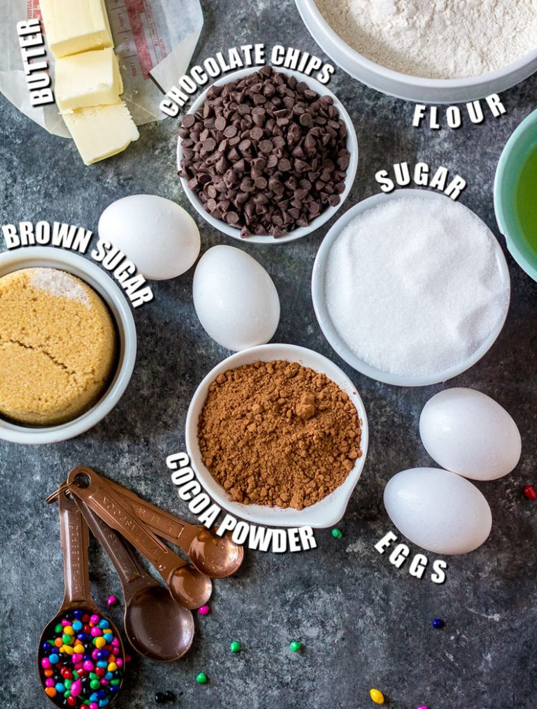 overhead shot of ingredients laid out to make cosmic brownies