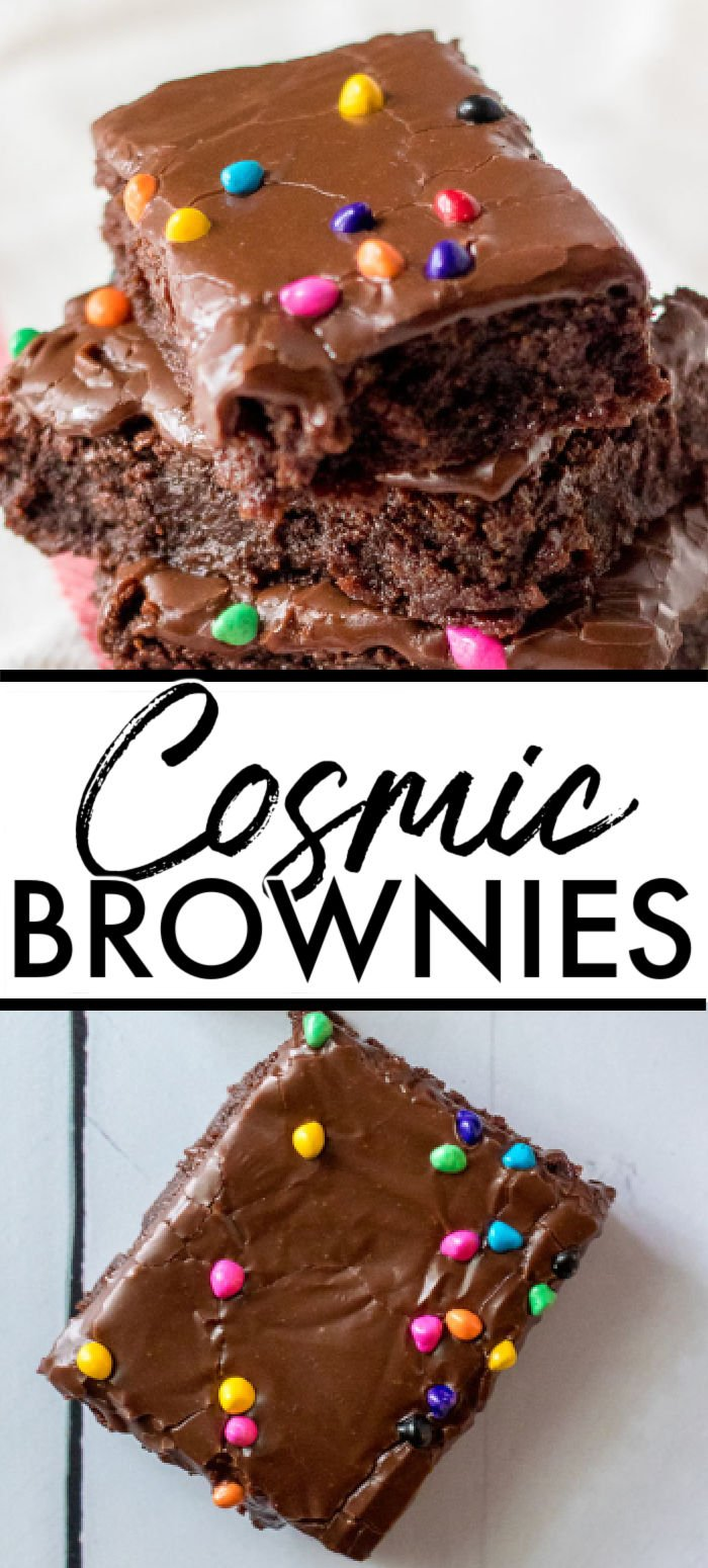 This Cosmic Brownies recipe is the homemade version of Little Debbie's famous treat. A chewy decadent brownie topped with a chocolate glaze sprinkled with rainbow chocolate chips. It makes for the perfect copycat recipe for the brownies we all know and love, only better! | www.persnicketyplates.com