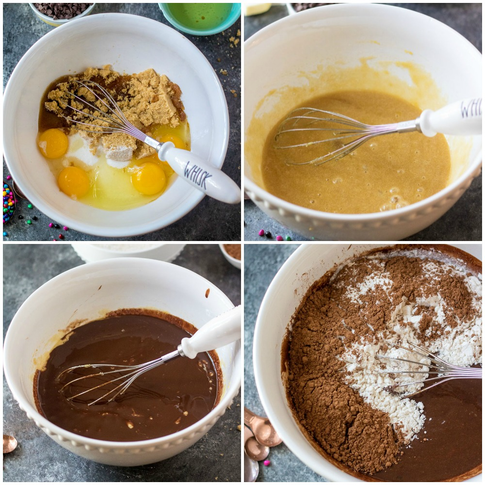 collage of mixing bowl making cosmic brownies