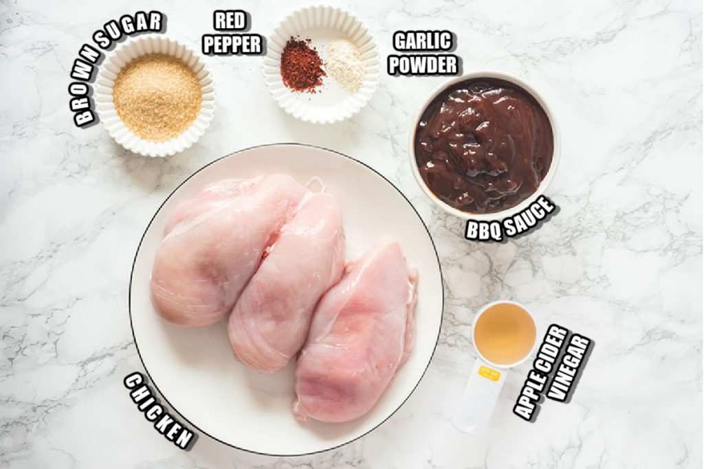 ingredients laid out to make bbq chicken