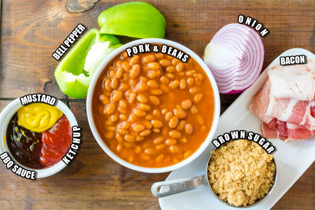 ingredients laid out to make doctored baked beans