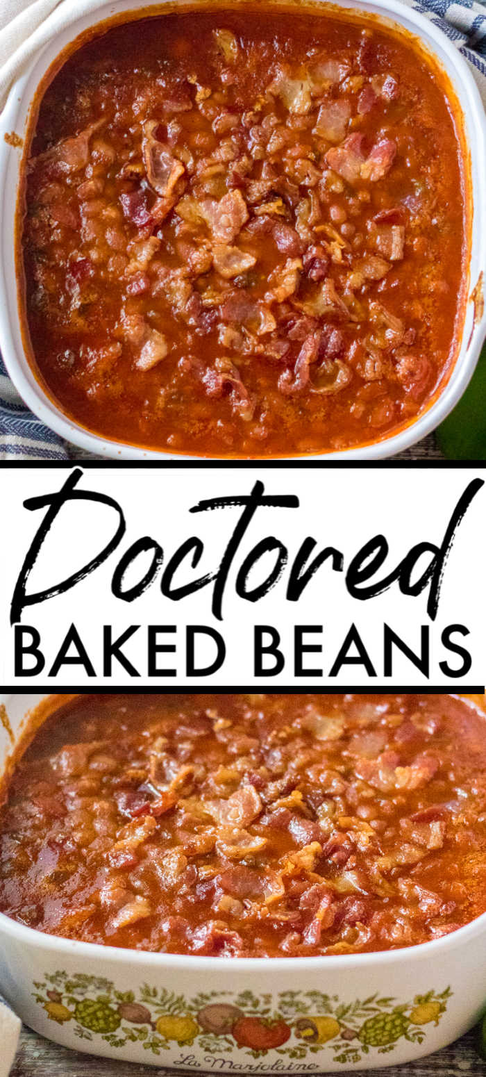 Take canned beans up a notch with this jazzed up baked beans recipe. Doctored baked beans are semi-homemade, easy, and perfect for a BBQ or potluck! | www.persnicketyplates.com