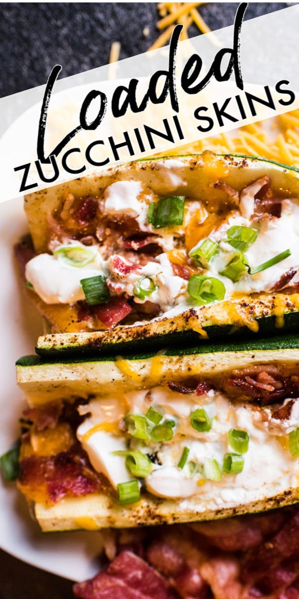 Loaded Zucchini Skins take everything you love about the classic potato skin appetizer up a notch. Topped with the standard add-ons - crisp bacon, melted cheese, sour cream, and green onions - you won't miss the potato!