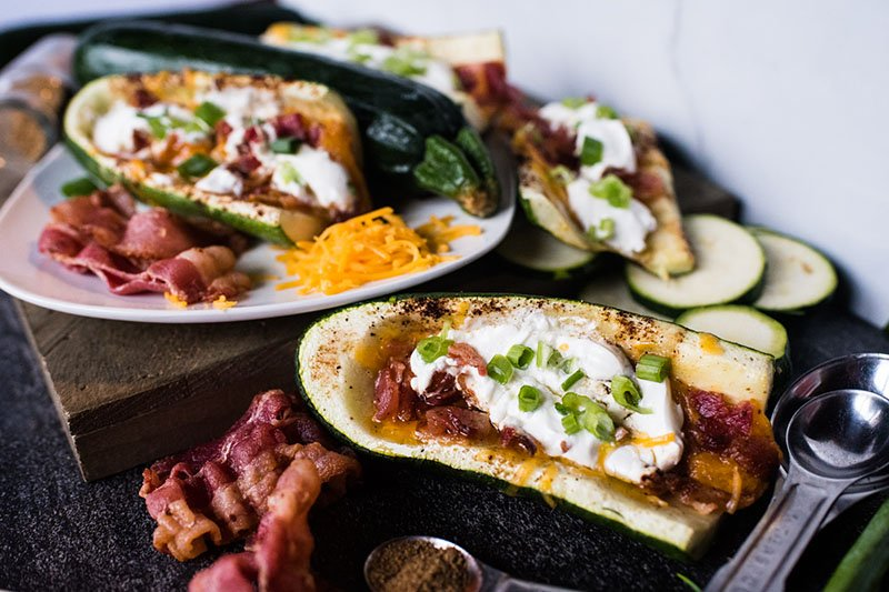 loaded zucchini skins topped with sour cream and green onions