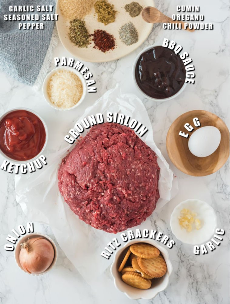 ingredients laid out to make meatloaf muffins